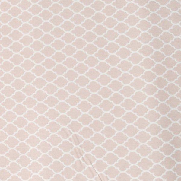 látka bavlněné plátno starorůžové šedo růžové ornamenty bílé
