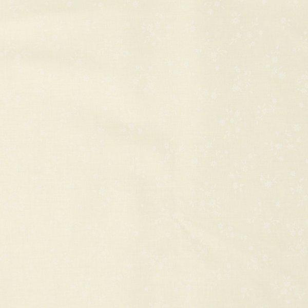 světle vanilková bavlněná látka metráž s bílým vzorem květinek