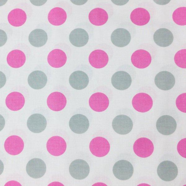 puntíkovaná látka metráž růžové fuchsiové puntíky šedé na bílé velké bublinky