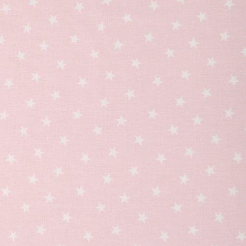 bavlněná metrová látka 100 bavlna na šití hvězdičky na pudrové světle růžové