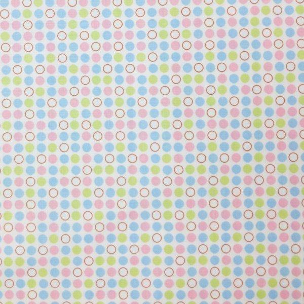 puntíkovaná česká látka 100 bavlna metráž puntíky světle modré zelené růžové na bílé