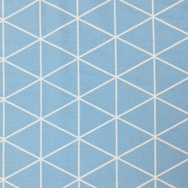 bavlněná látka plátýnko geometrické obrysy čáry trojůhelníky šedo modrá bílá