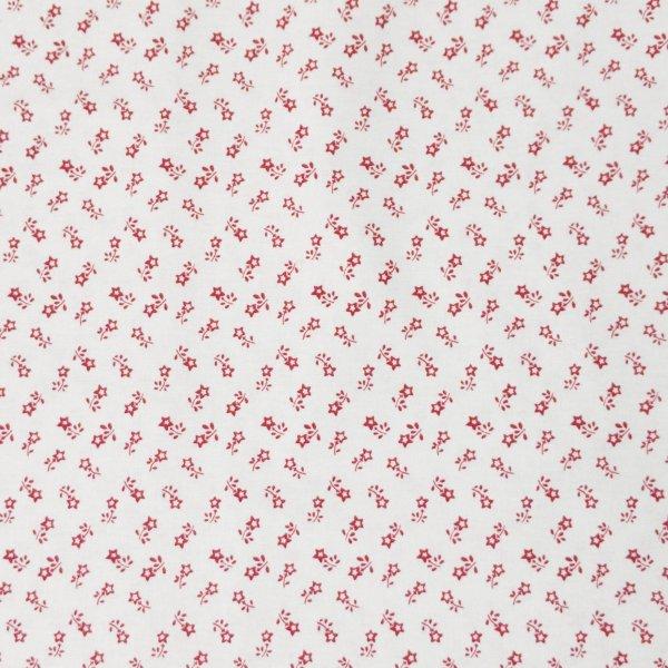 květinová látka červené bílé na patchwork dekorační povleky