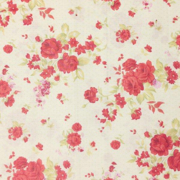 bavlněná látka s růžemi červená na vanilkové krémové světlé na závěsy