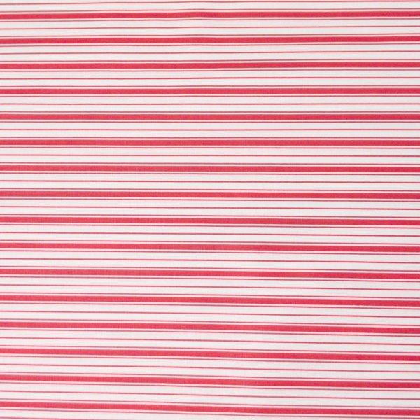 proužkovaná látka červená bílé 100 bavlněná metráž na závěsy běhouny prostírání