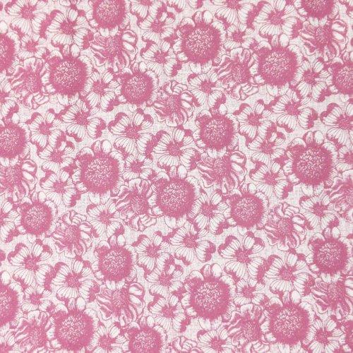 květinová látka metráž plátno slunečnice fialové růžové červené na bílé