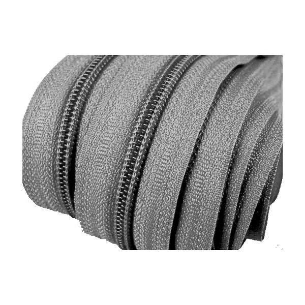 Spirálový zip šířky 5,8 mm šedé barvy v metráži.