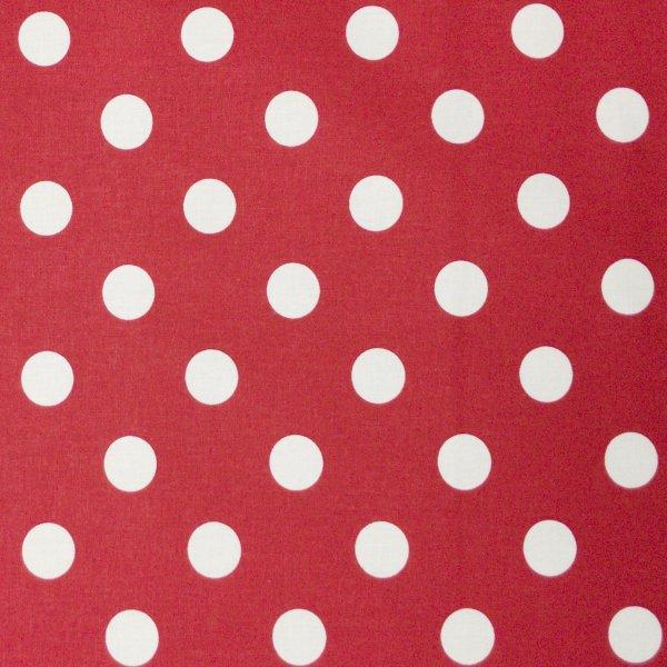 puntíkovaná látka bavlněné platýnko bílé puntíky tečky bublinky na sytě královsky červené