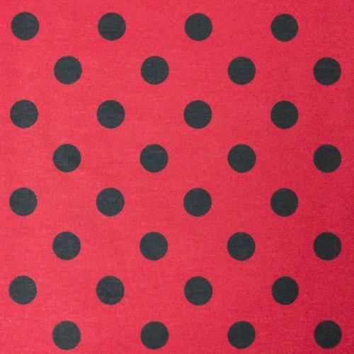 látka metráž velké černé puntíky tečky bublinky na královsky červeném podkladu