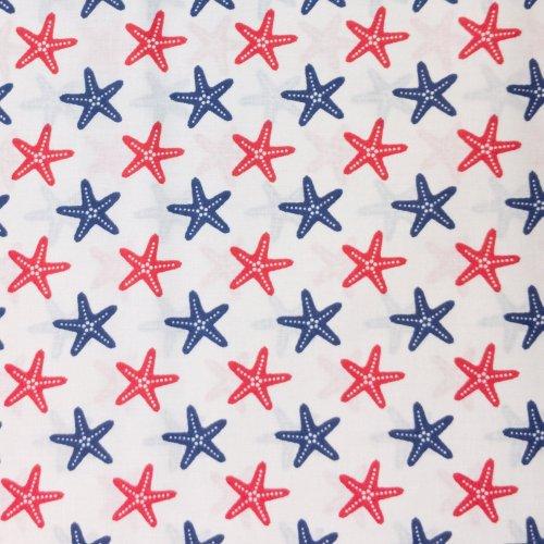 námořnický vzor červených a modrých hvězdic na bílém podkladu 100 bavlněná látka na závěsy