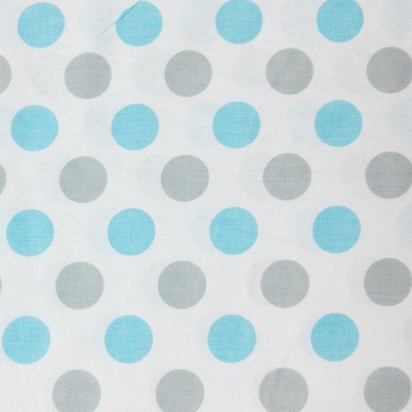 puntíkovaný látka metráž bledě modré a šedé tečky bublinky na bílé