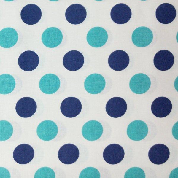 puntíkovaný látka metráž tmavě modré a tyrkysové tečky bublinky na bílé