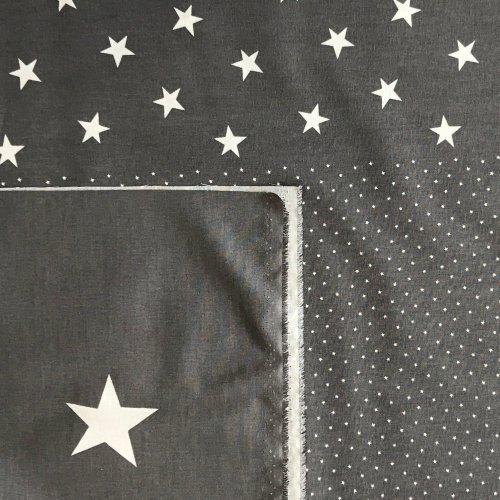 látka se hvězdičkami české plátno tmavě šedé bílé tři velikost noční obloha