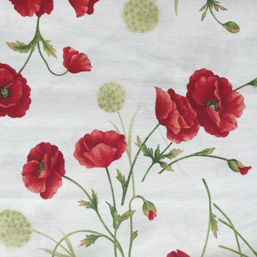 dekorační látka režná metrový textil na potahy závěsy ve venkovském stylu vlčí máky krásné květy červené bílá