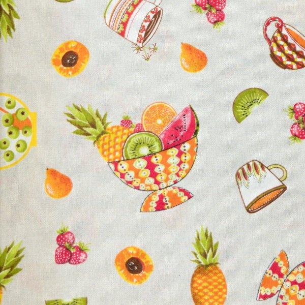 Dekorační látka dovoz ovoce ananas mandarinka na režná na potahy dekoračních polštářů