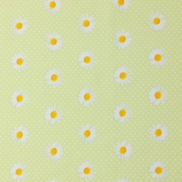 dekorační látka metráž kopretinové květy na světle zelené kytičky květinky