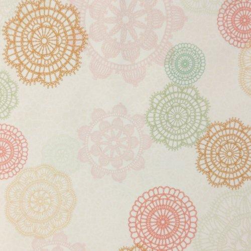 Dekorační látka dovoz barevné pastelové mandaly světlá béžová režná na závěsy metrový textil