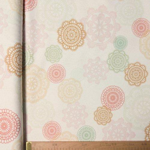 Látka režná dekorační od zahraničního dovozce mandaly ornamenty krásné barvy světlá na polštáře