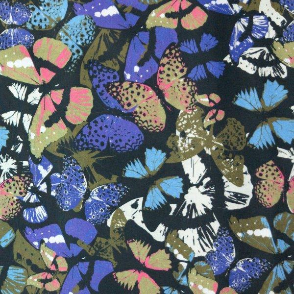 bavlněná látka plátno motýli motýlvi babočka modrá hnědé černá velcí