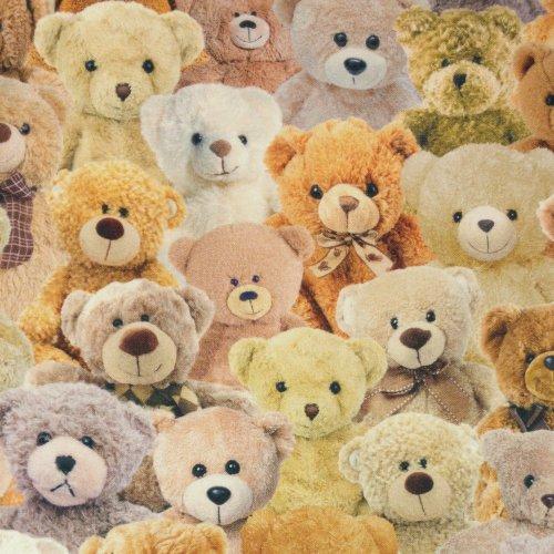 režná dekorační látka textil na potahy 100 bavlna kvalitní digi tisk plyšáci medvídci teddy bears