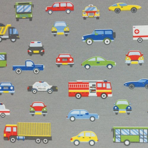 dekorační látka metráž směsovka potahovka auta doprava kamiony závodní na šedé