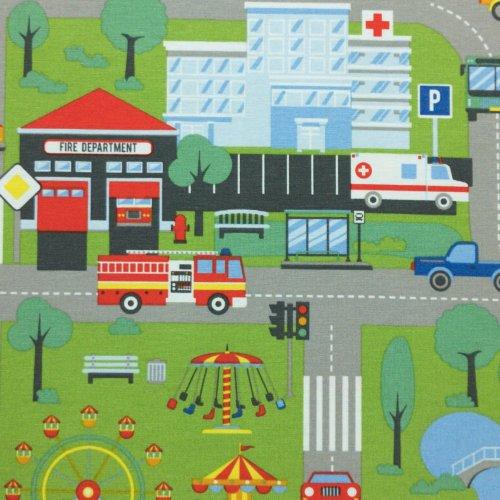 metrový textil potahový dekorační zelená auta cesty domy nemocnice město doprava