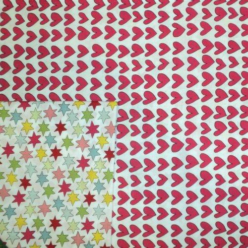 Bavlněná látka červená srdíčka a hvězdičky na patchwork a závěsy