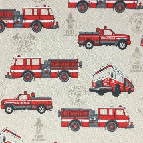 dětská dekorační látka metráž na závěsy do pokoje hasičská auta fire department hasiči