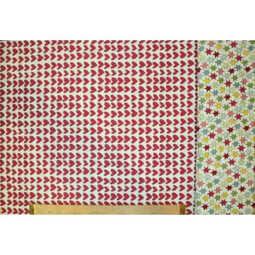Dovozová látka 100 bavlna metráž barevné hvězdičky a srdíčka na deky a povlečení podšívky