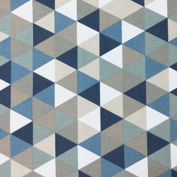 potahová dekorační látka na židle závěsy modrá bílá černá trojúhelníky triangles geometrický vzor