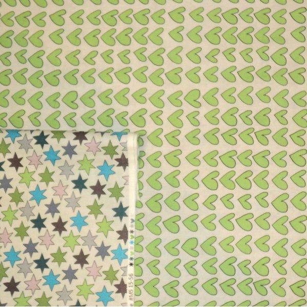 Bavlněná látka na patchwork zelená srdíčka a hvězdičky dětská metráž