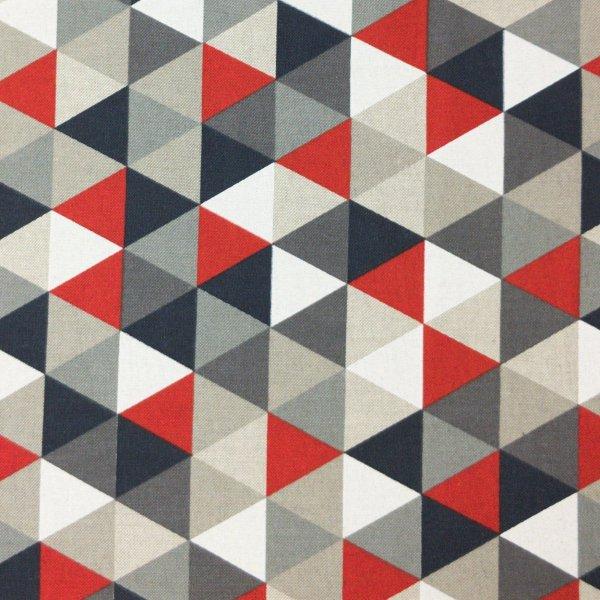 závěsovina potahovka metráž červená pevná látka trojúhelníky šedé černé bílé