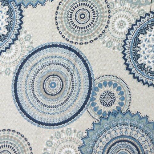 dekorační potahovka metráž mandaly modré kruhy orientální vzor na dekorační polštáře povleky