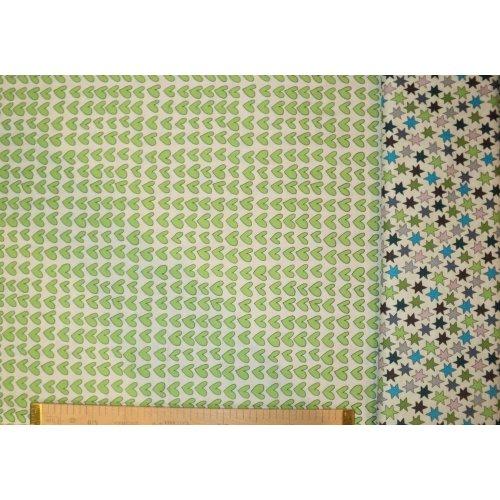 Dětská látka 100 bavlna metráž zelená srdíčka na bílém podkladu s hvězdičkami