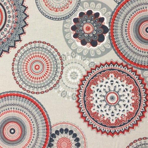 metrová dekorační textílie červené mandaly režná béžová směsovka na potahy zahradních lehátek