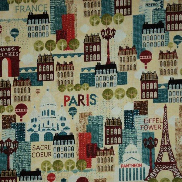 Americká dovozová látka bavlna vzor paříže a eiffelových věží