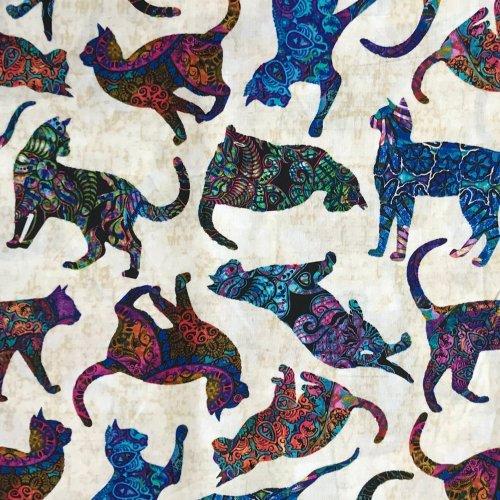 americká bavlněné látka plátno kočky koťata kočičky bílé krémové barevné 1649-26644-E Quilting Treasures