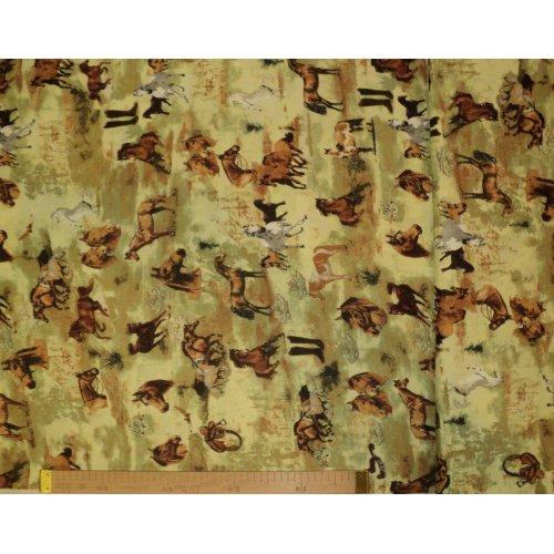 Látka na závěsy a dekorace se vzorem koní 100 bavlna