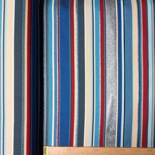 metráž žakár jacquard textil hrubý pevný na záclony závěsy ubrusy bytové dekorace vzorovaná tkanina modrá proužky