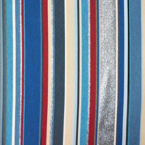 žakárová bavlněná tkanina látka jacquard proužky modré stříbrné reflexní pozlátko alobal na ubrusy a závěsy
