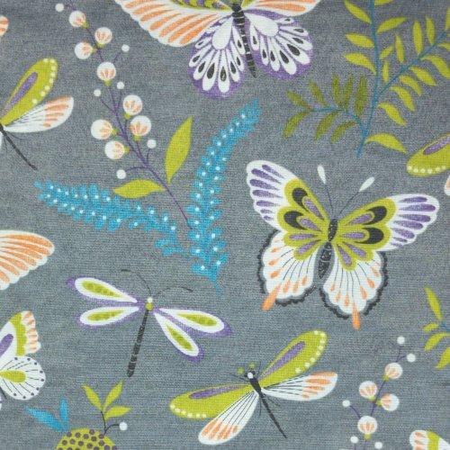 pevná dekorační látka na potahy metráž šedá na šití závěsů motýli vážky kapradí květiny