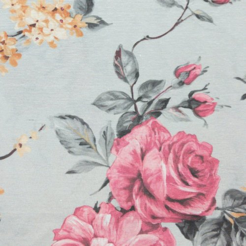 květinový vzor dekorační látky na závěsy s růžemi a kytičkami na světle šedé