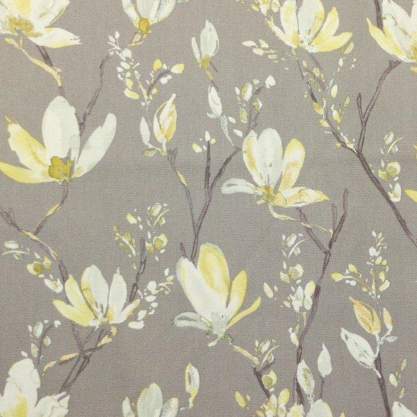 metrový textil režný pevný na potahy žluté květy magnolie béžovo žlutý na závěsy