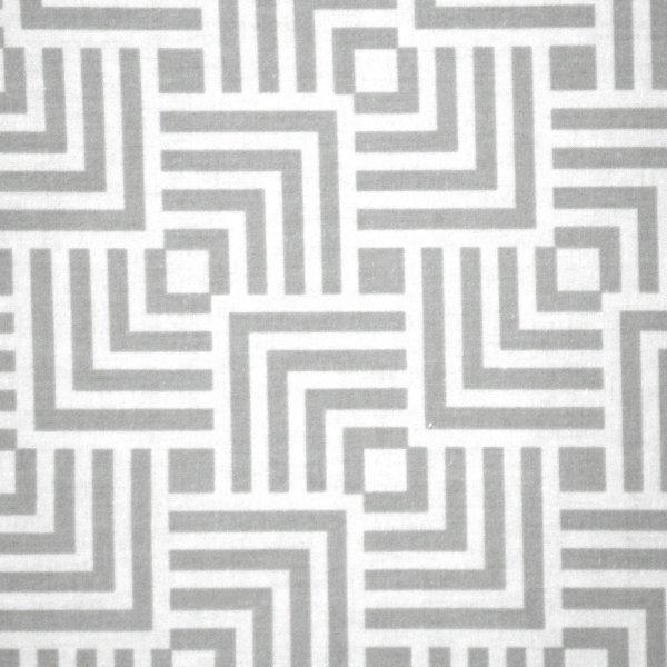 Bavlněná látka na závěsy a podšívky šedé čtverce na bílé