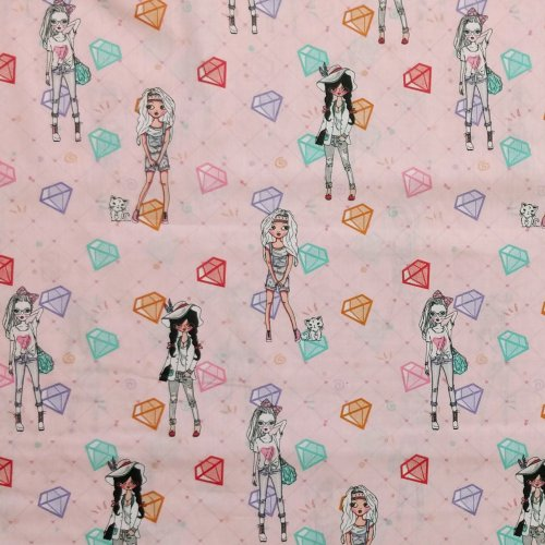 dětský holčičí vzor bavlněné látky na závěsy do pokojíků na šití růžová barbie holčičky diamanty