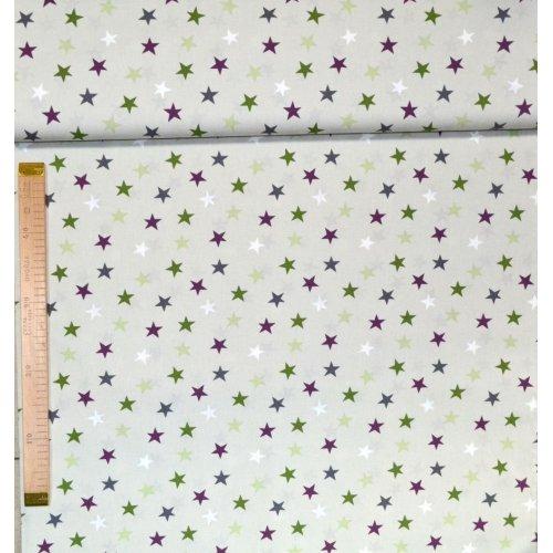 Metráž bavlna na patchwork a závěsy světle béžová a barevné hvězdičky