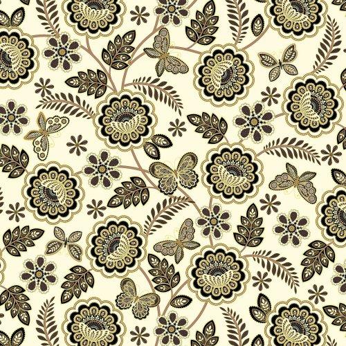 Látka bavlněná od amerického výrobce benertex 100% bavlna zlatotisk květinek a motýlů na světlém podkladu