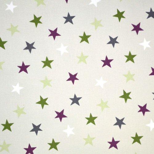 Česká 100 bavlna metráž barevné hvězdičky na světlém béžovém podkladu