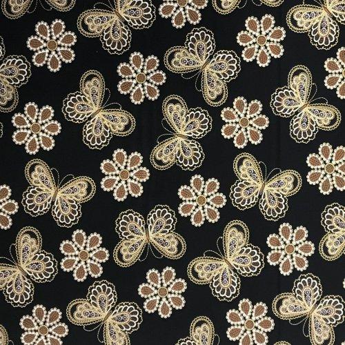 bavlněná látka z Ameriky metallic lace black benertex dover hill butterfly motýli černá zlatá