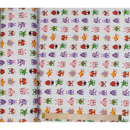 Látka metráž len s bavlnou dětský vzor barevných soviček